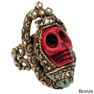 Sweet Romance Carved Red Skull Queen Ring