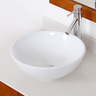 Elite High Temperature Grade A Ceramic Bathroom Sink with Unique Round Design and Chrome Finish Faucet Combo