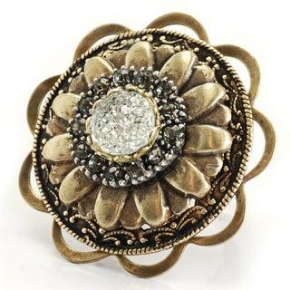 Sweet Romance Bronzetone Acrylic Stone Flying Saucer Flower Ring