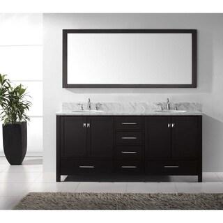 Virtu USA Caroline Avenue 72-inch White Marble Double-sink Bathroom Vanity Set