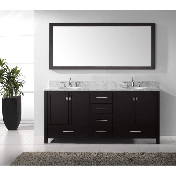 Caroline Avenue 72 Inch Grey Double Vanity White Marble Top Sink Mirror Free Shipping Today