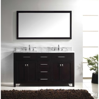Virtu usa caroline avenue 60 inch double white marble sink bathroom vanity set free shipping for Caroline 60 inch double sink bathroom vanity set