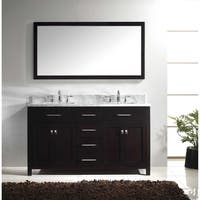 Virtu USA Caroline 60-in Double Sink Vanity w/ Top & Mirror