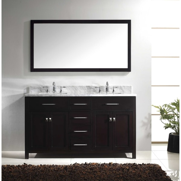Virtu USA Caroline 60 Inch Italian Carrara White Marble Double Bathroom  Vanity Set With Faucets