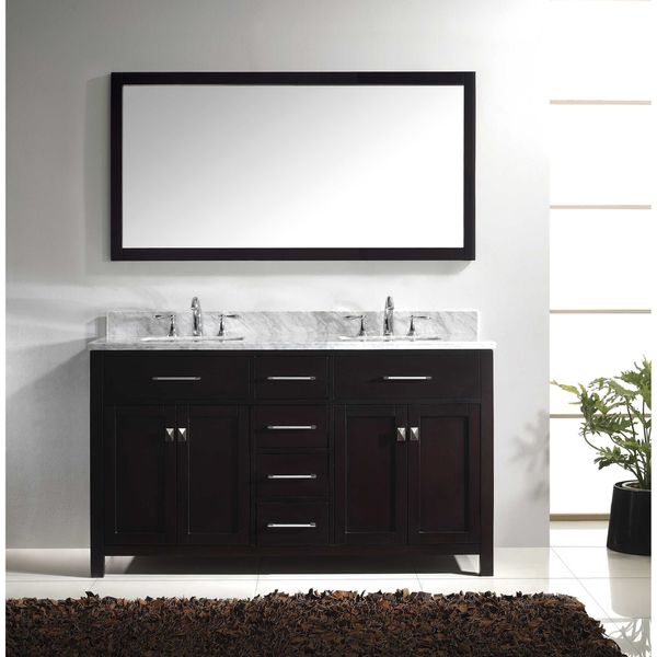 Virtu USA Caroline 60 Inch Carrara White Marble Double Sink Bathroom Vanity  And Mirror Set