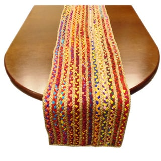Celebration Hand-woven Reversible Jute and Cotton Multi Chindi Braided Table Runner