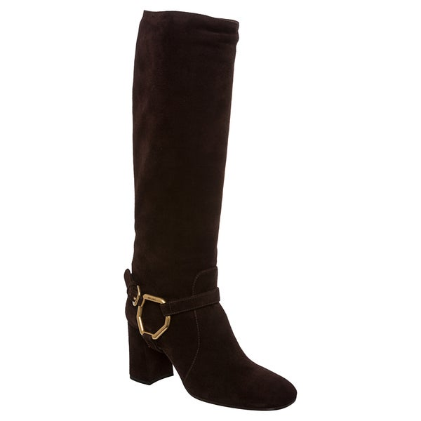 Prada Women's Brown Suede Harness Riding Boots