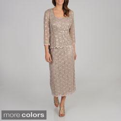 R & M Richards Women's Petite 2-piece Lace Jacket and Long Dress