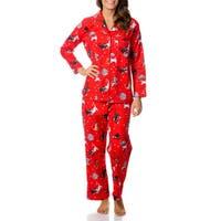 La Cera Women's Kitty Kat Print Pajama Set
