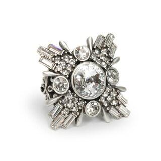 Sweet Romance Art Deco Geometric Star Silver Ring