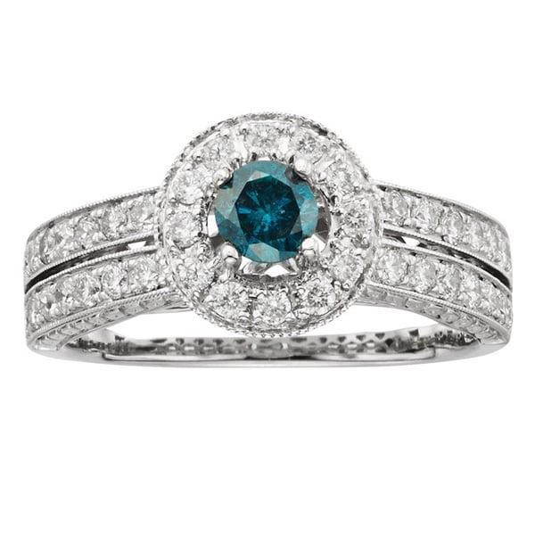 Sofia 14k Gold 1ct TDW Certified Blue Pave-set Diamond Engagement Ring