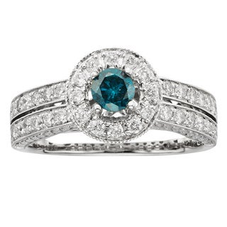 Sofia 14k Gold 1ct TDW IGL Certified Blue Pave-set Diamond Engagement Ring