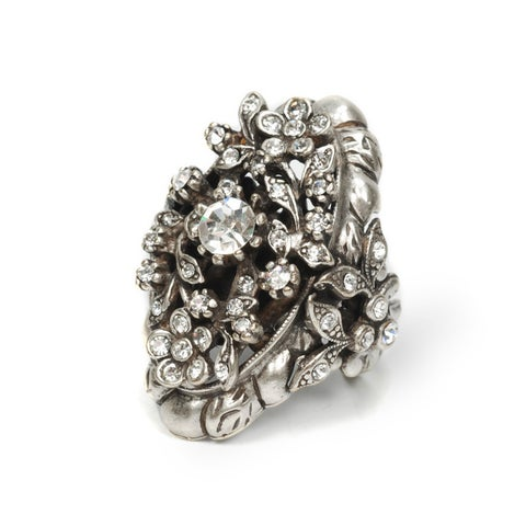 Sweet Romance Victorian Crystal Diamond Silver Cocktail Ring