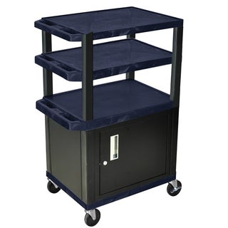 Offex Navy/Black Rolling Height Adjustable Tuffy Cart/ Lockable Storage Cabinet