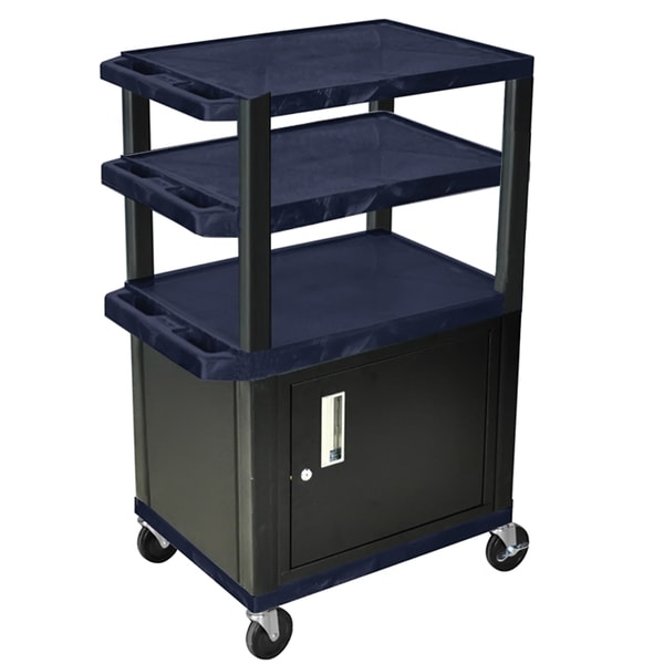 Offex Navy/Black Rolling Height Adjustable Cart/ Lockable Storage Cabinet