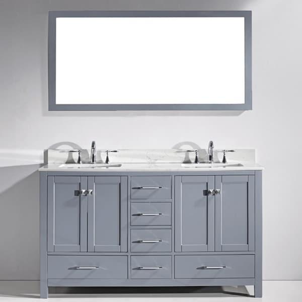 Virtu USA Caroline Avenue 60 Inch Double White Marble Sink Bathroom Vanity  Set