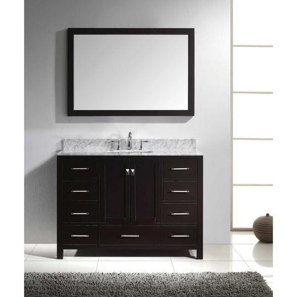 Virtu usa caroline avenue 48 inch italian carrara white for Virtu usa caroline 36 inch single sink bathroom vanity set