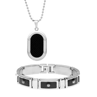 Stainless Steel Men's Black Carbon Fiber Inlay 2-piece Jewelry Set