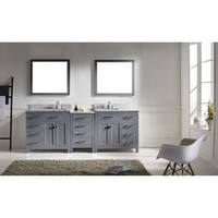 Caroline Parkway 93-inch Double Vanity White Marble Top with Mirror