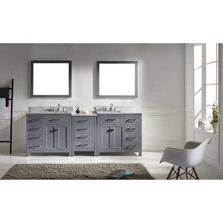 Virtu USA Caroline Parkway 93-inch Italian Carrara White Marble Double-sink Bathroom Vanity Set