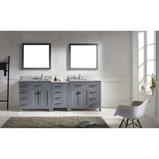 virtu usa caroline parkway 93 inch italian carrara white marble double sink bathroom vanity - Modern White Bathroom Cabinets