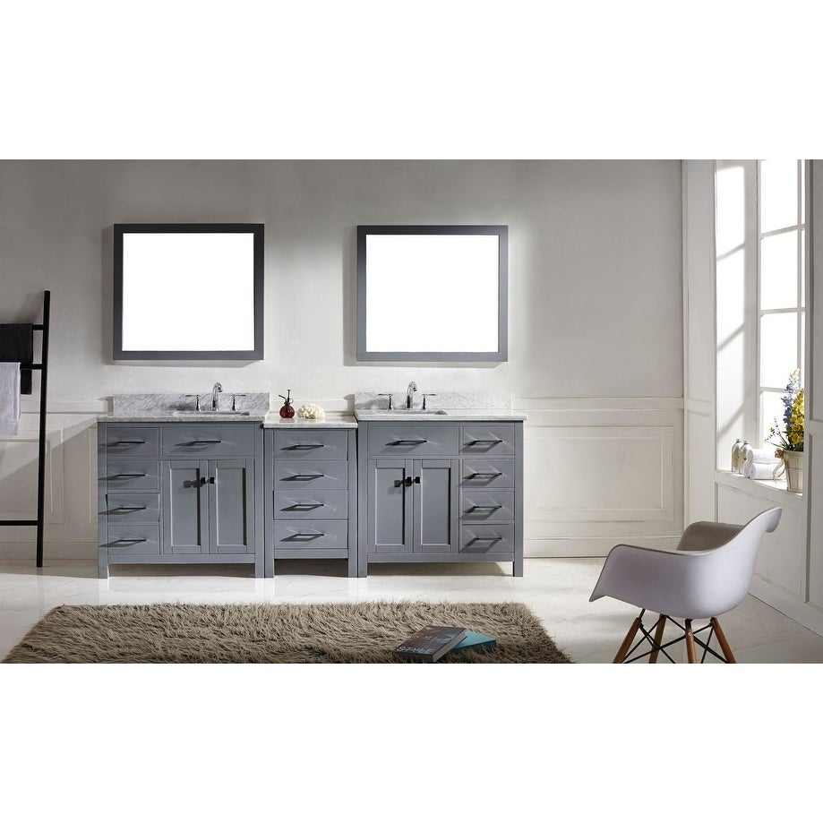 wood bathroom vanity. Virtu USA Caroline Parkway 93-inch Italian Carrara White Marble Double-sink Bathroom Vanity Wood