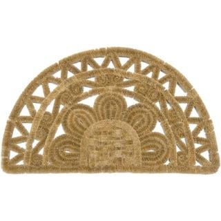 Rubber-Cal Hand-woven Borelo Brown Coir Door Mat (1'6 x 2'6)