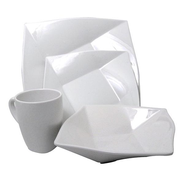 White Melamine 4 Piece Square Dinnerware Set Free