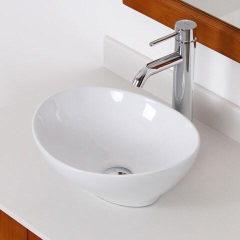 Elite High Temperature Oval Ceramic Bathroom Sink/ Chrome Finish Faucet Combo 8089F371023C