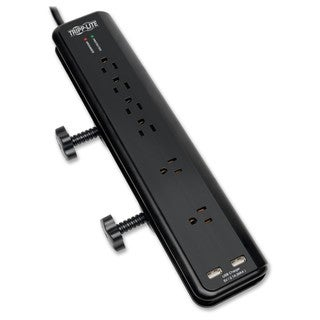 Tripp Lite Surge Protector Power Strip Desk Mount 120V USB 6 Outlet 6