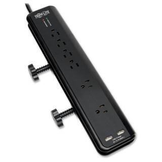 Tripp Lite Surge Protector Power Strip Desk Mount 120V USB 6 Outlet 6