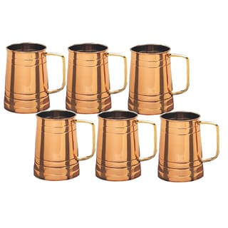 Solid Copper Tankards with Brass Handles (Set of 6)