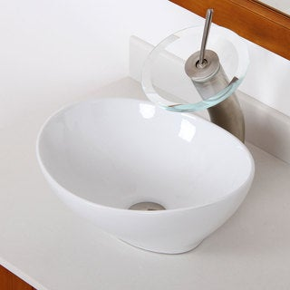 Elite High Temperature Ceramic Oval Bathroom Sink/ Waterfall Faucet Combo