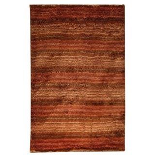 M.A.Trading Hand-woven Delhi Orange Polyester Rug (5' x 8')