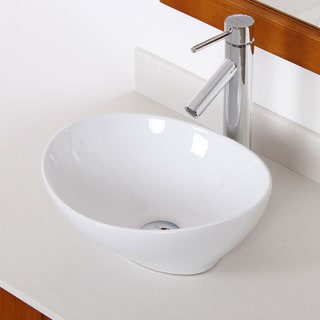 Elite Bathroom Egg Style Ceramic Oval Sink & Chrome Finish Faucet Combo