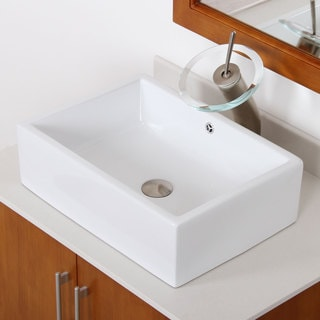 Elite High Temperature Ceramic Rectangle Bathroom Sink/ Waterfall Faucet Combo C148F22TBN