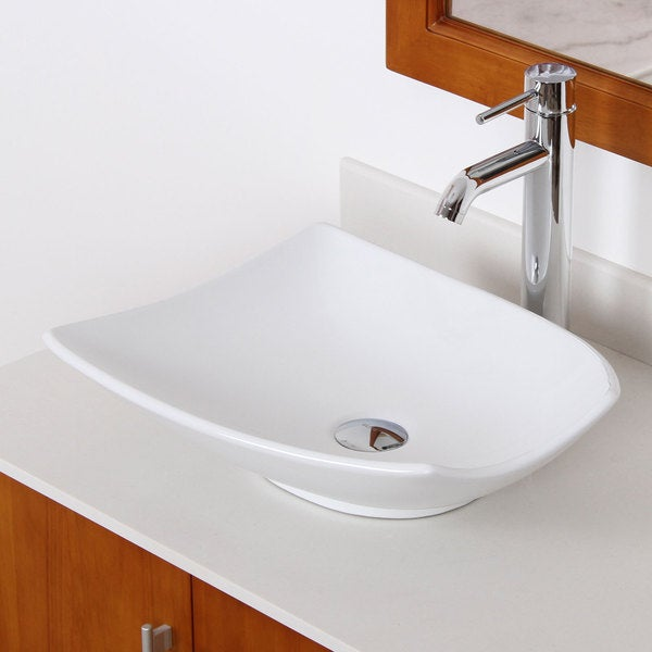 Elite High Temperature Ceramic Trapeziform Bathroom Sink/ Faucet ...