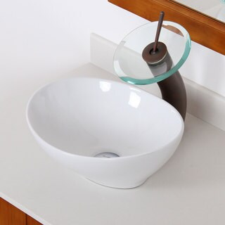 Elite High Temperature Ceramic Oval Bathroom Sink/ Waterfall Faucet Combo 8089F22TC