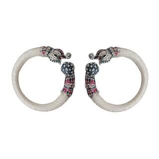 Set of 2 Handmade Artisan Enamel Elephant Cuff Bracelets (India)