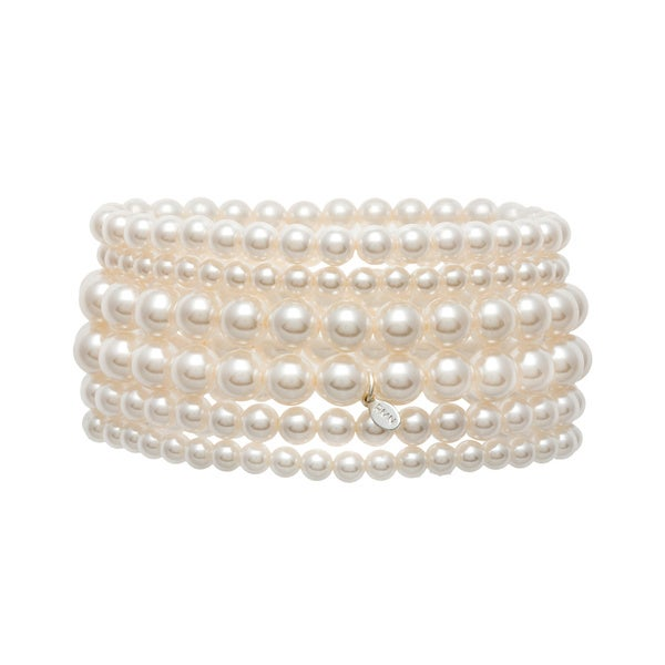 Roman Faux Cream Pearl 6-strand Stretch Bracelet