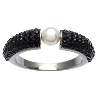 Black Swarovski Crystal and White Faux Pearl Piano Ring