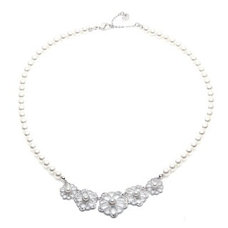 Swarovski Silvertone Crystal and Faux Pearl Ruffle Collar Necklace