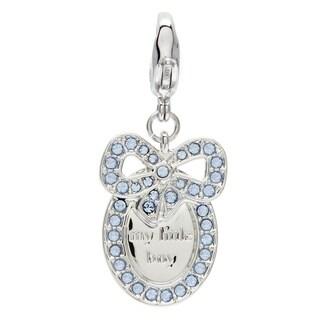 Swarovski Silvertone Blue Crystal Baby Boy Medal Charm