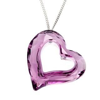 Swarovski Loveheart Lilac Rhodium-plated Pendant Necklace