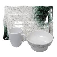 Marble Melamine 4-piece Dinner set - White