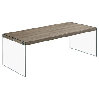Dark Taupe Reclaimed-look/ Tempered Glass Cocktail Table
