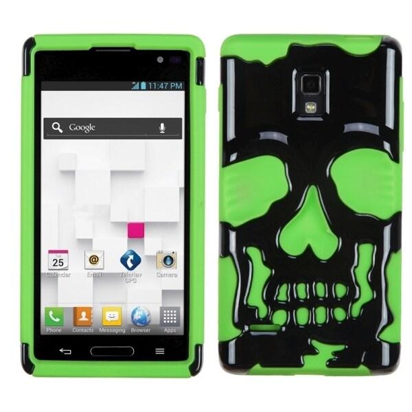 INSTEN Black/ Electric Green Skullcap Phone Case Cover for LG P769 Optimus L9