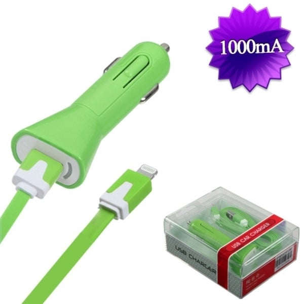 BasAcc 8PIN Green Car Charger for Apple iPhone 5/ 5C/ iPod Touch 5
