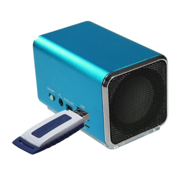INSTEN 3-way 3.5mm/ Micro SD Card/ USB Flash Blue Mobile Speakers With USB Cable