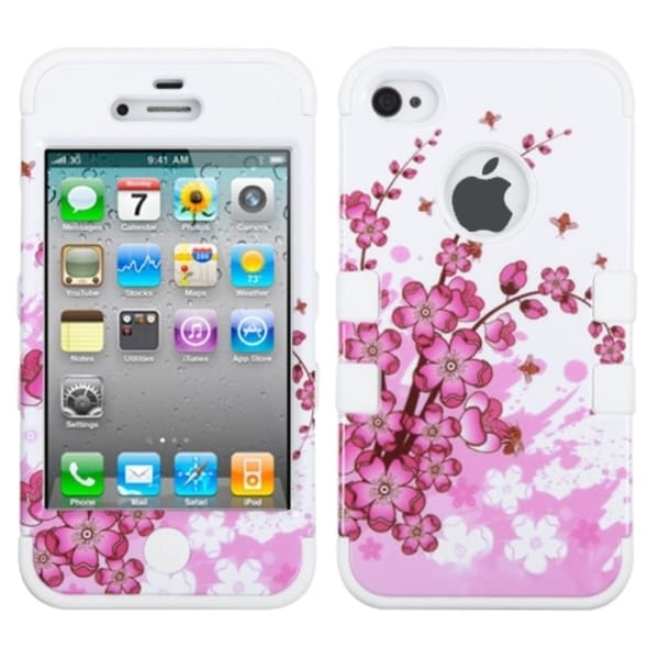 INSTEN Spring Flowers/ Solid White TUFF Phone Case Cover for Apple iPhone 4/ 4S